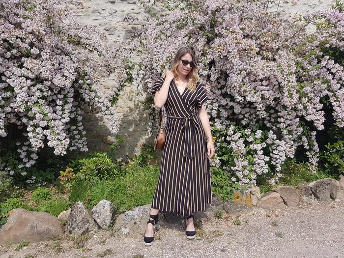 look printemps robe longue rayée pimkie
