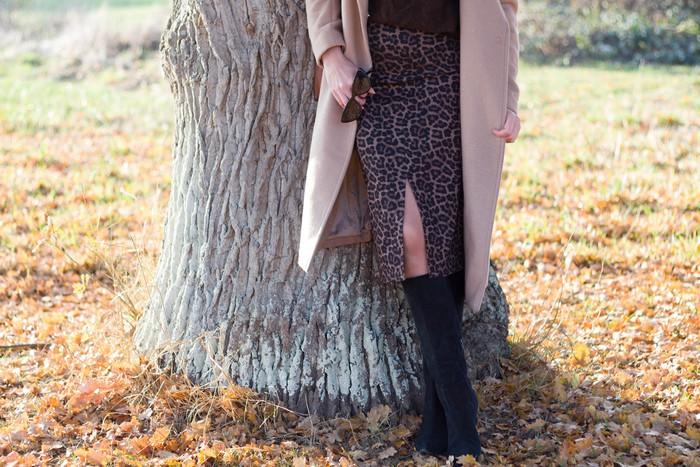 camel coat et leopard