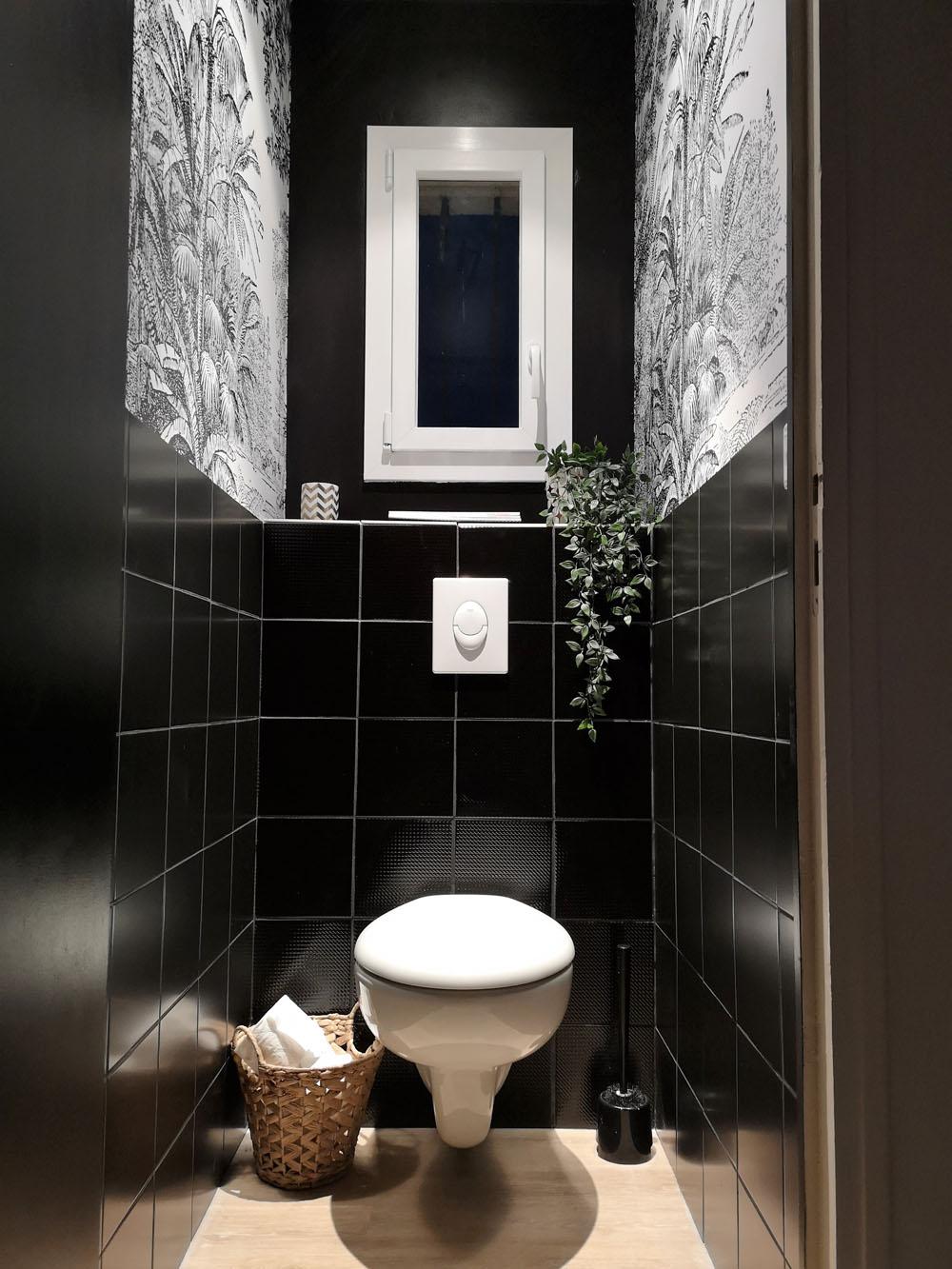 renovation wc scenolia papier peint noir et blanc atelier de tendances. Black Bedroom Furniture Sets. Home Design Ideas